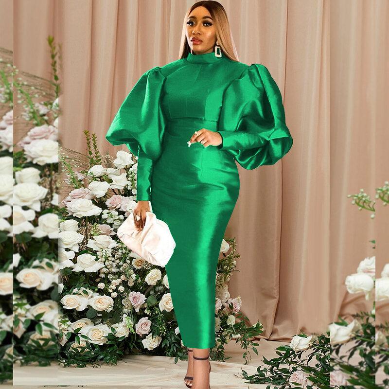المرأة الأفريقية الجلباب عيد ميلاد الحدث فانوس طويل فستان عيد الميلاد عالية طوق Bodycon مثير لامعة احتفال مناسبة فساتين ماكسي