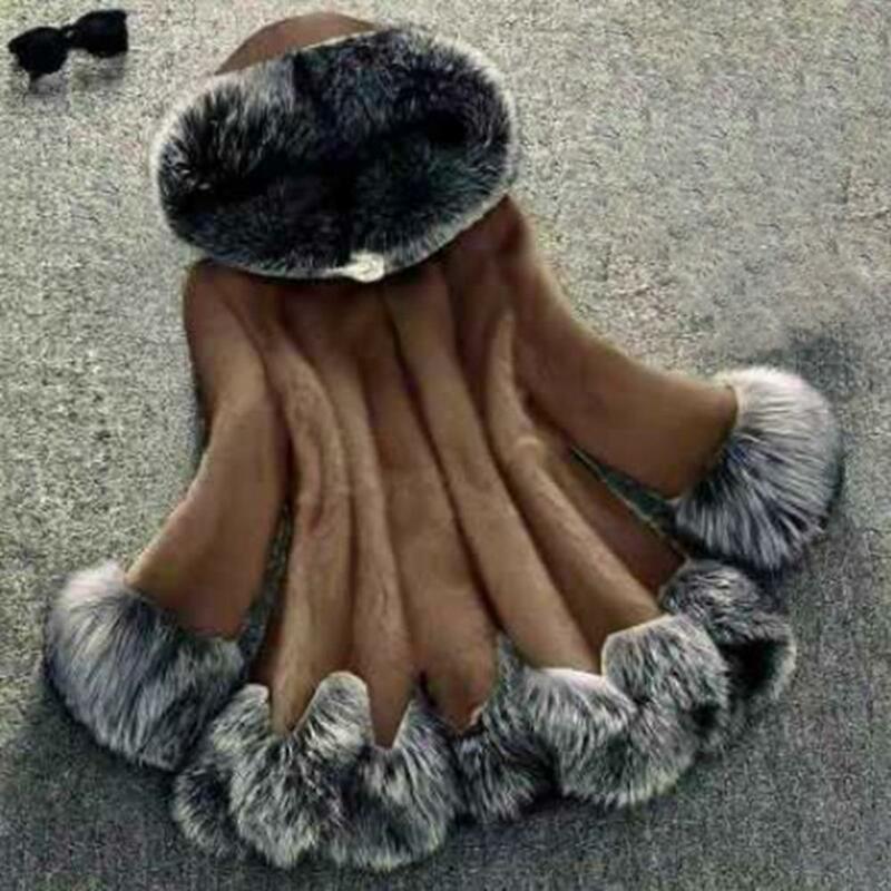 معطف النساء 2021 فو الفراء معطف مقنعين منتصف طول المرأة المرقعة كم طويل سميكة معطف دافئ سترة الشارع الشهير