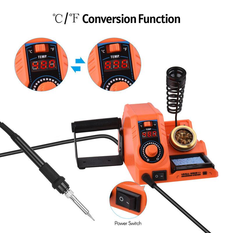 محطة لحام درجة حرارة قابلة للتعديل من 200 ℃-480 ℃ / 392 ℃-896 ℃ مع LED شاشة ديجيتال الشعلة الحرارية لإصلاح اللحام DIY بها بنفسك