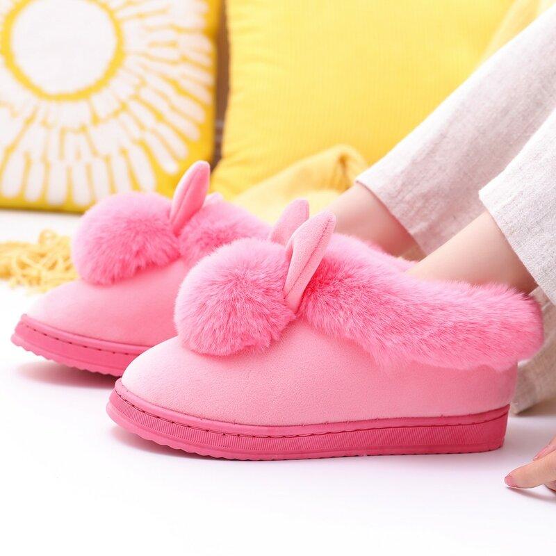 2020 النساء شبشب شتوي آذان الأرنب فروي أفخم المخملية الثلوج الإناث شبشب في الأماكن المغلقة المنزل أحذية حجم كبير أحذية الراحة الناعمة # SN