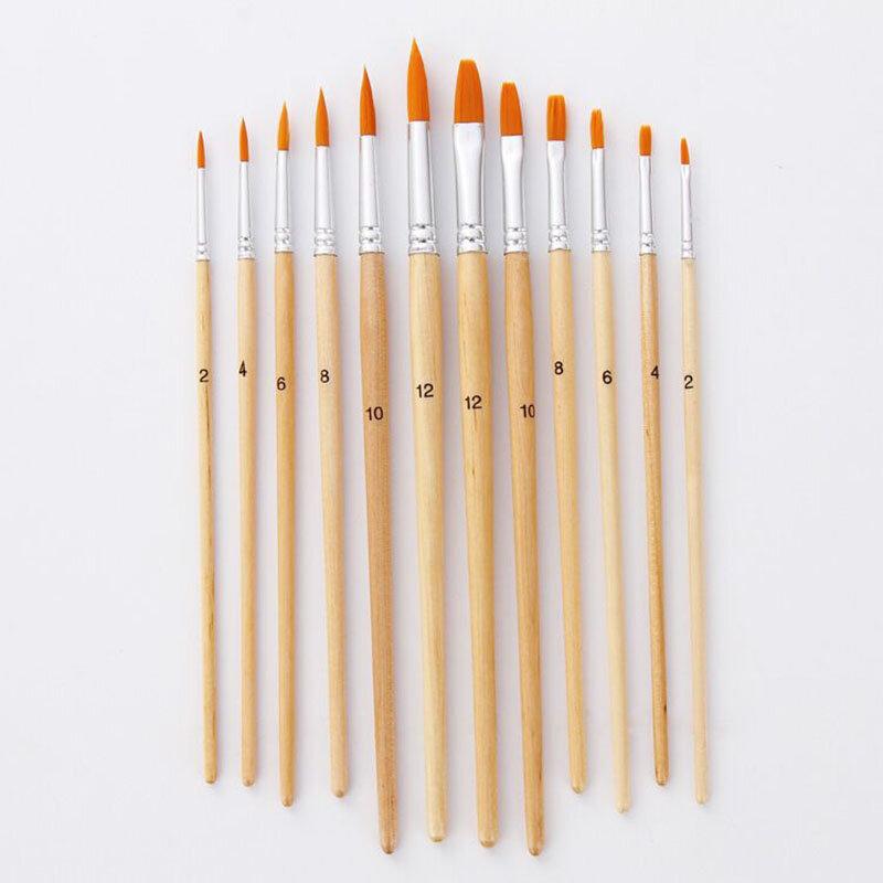 12 قطعة فرشاة رسام للفنانين الخشب مختلفة الحجم النايلون زيت شعر اللوحة فرش مجموعة ل المائية الاكريليك رسم الفن لوازم