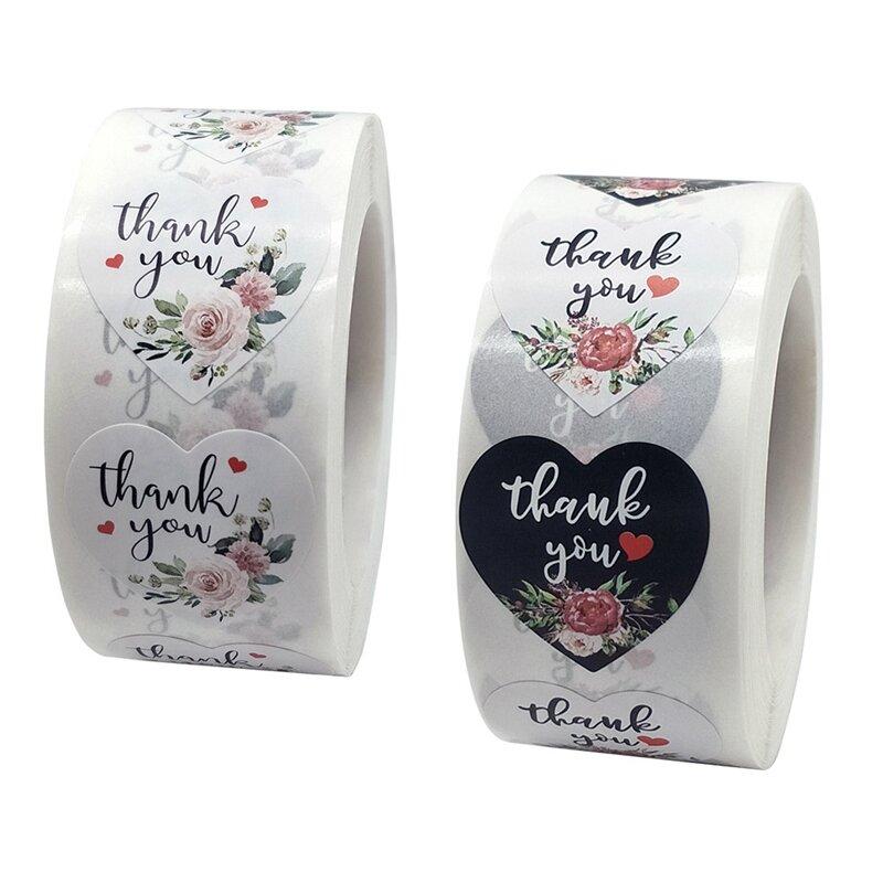 ملصقات تسميات Floral بها بنفسك الأزهار على شكل قلب شكرا لك للخبز الزفاف جعل هدية خاصة بك مفاجأة أعواد تزيين الطرف