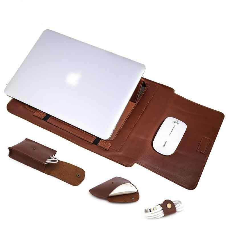 """جلد طبيعي 13 """"حقيبة كمبيوتر محمول متعددة الوظائف باد حقيبة كمبيوتر محمول الأعمال الرجعية"""