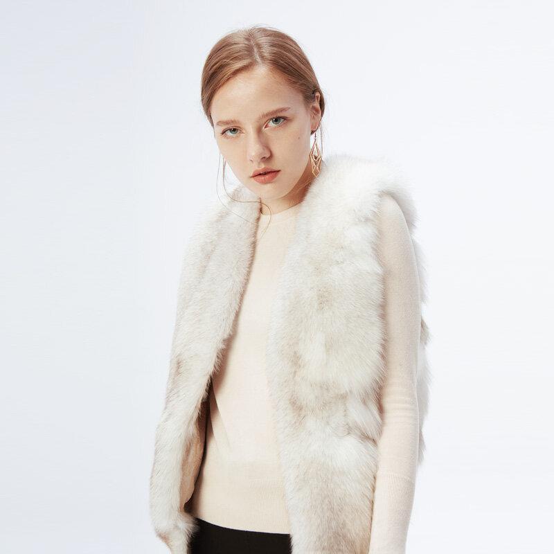 ETHEL ANDERSON-سترة من فرو الثعلب الطبيعي بالكامل للنساء ، سترة بفرو لاغوبوس ، معطف شتوي متوسط الحجم للنساء