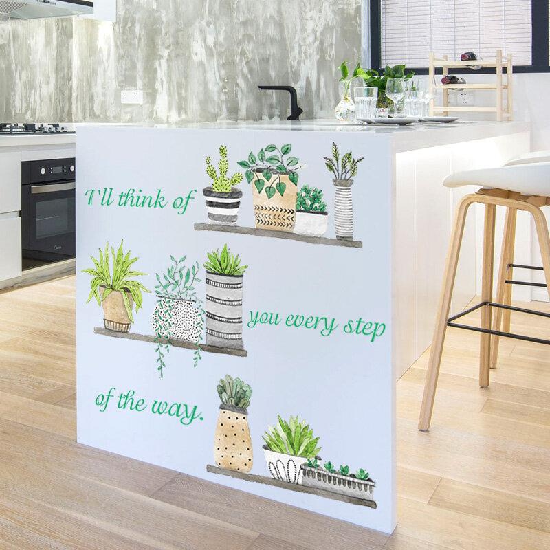 Plant بها بنفسك النبات الفن ملصق ملصقات جدار مقاوم للماء للأطفال غرف الديكور ملصقات جدار خلفية مقاومة للمياه
