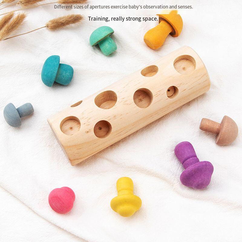 فطر خشبي اختيار كتلة انتزاع الحسية لعبة التحفيز تنوير لعبة تعليمية طفل اليد العين شكل اللون الإدراك هدية