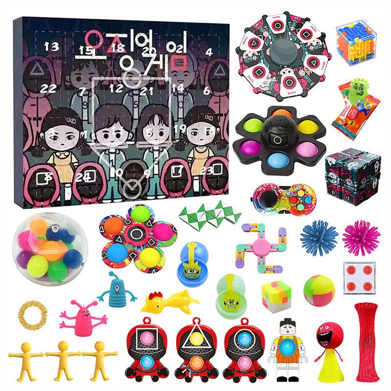 لعبة الحبار POP IT تململ سبينر الإجهاد الإغاثة اللعب مجموعة كاملة من صندوق أعمى الحلي فقاعة الموسيقى ألعاب تعليمية للأطفال