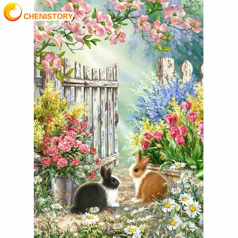 CHENISTORY صورة بواسطة أرقام زهرة سياج المشهد الاكريليك رسم قماش لوحة زيتية جدارية حسب عدد أرنب Home بها بنفسك المنزل ديكو