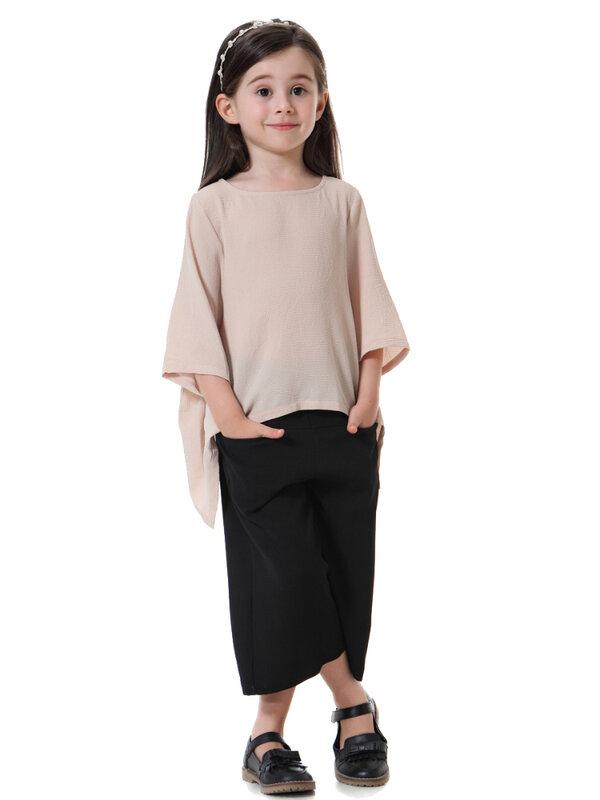 بدلة بنت مسلمة عباية دبي تركيا جنوب شرق آسيا فتاة فقاعة شبكة بنطال ذو قصة أرجل واسعة تناسب ملابس الأطفال الإسلامية 2021