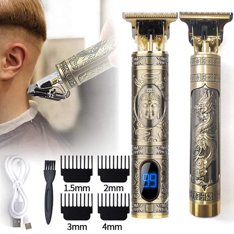 T9 المهنية الرقمية الشعر المتقلب قابلة للشحن مقص الشعر الكهربائية الرجال اللاسلكي حلاقة قابل للتعديل السيراميك شفرة LCD