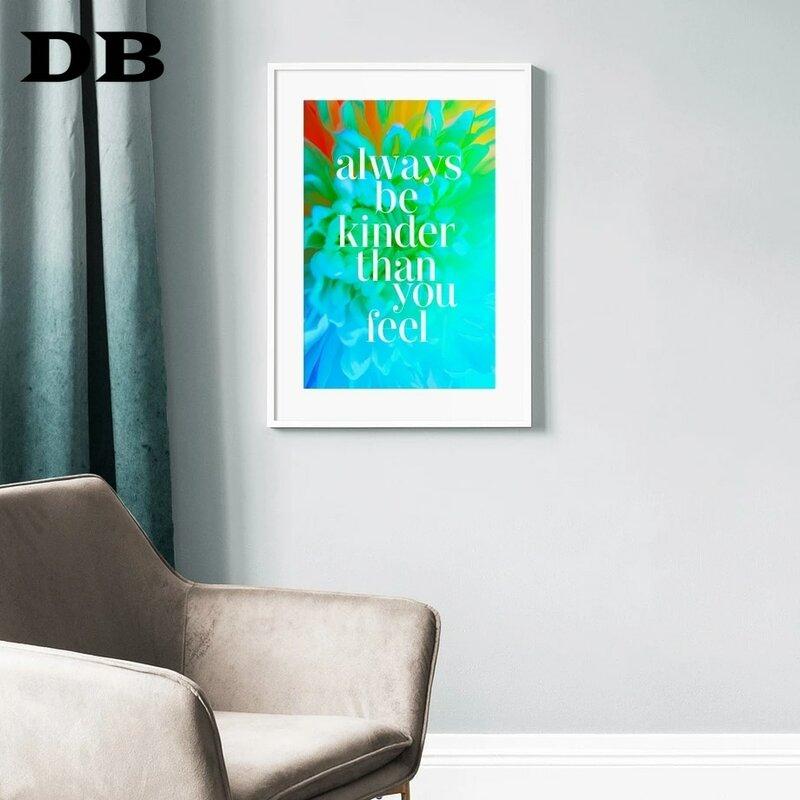 الملونة زهرة النبات ورقة Quotes الشمال قماش الملصقات و يطبع الرسم على لوحات القماش الجدارية جدار صور لغرفة المعيشة ديكور