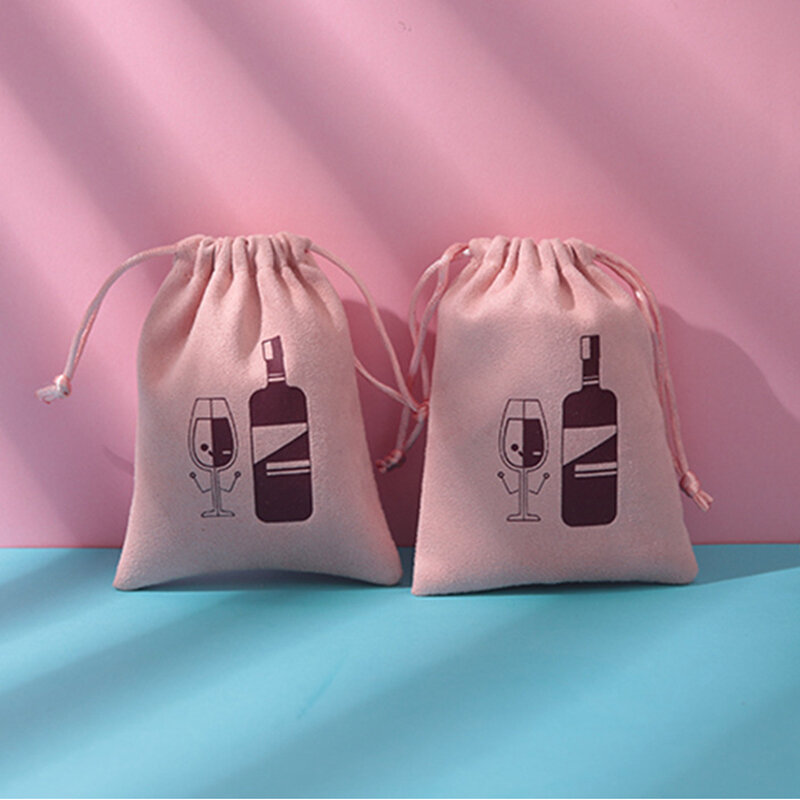 50 قطعة فارغة فارغة المخملية الرباط الحقائب والمجوهرات التعبئة والتغليف حقيبة ضوء هدية بلون وردي صندوق شخصية الحقيبة