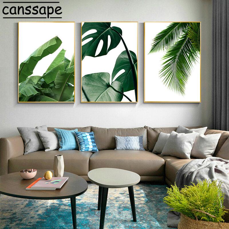 النباتات الاستوائية الرسم على لوحات القماش الجدارية الخضراء يترك طباعة الحد الأدنى الجدار ملصق الشمال الملصقات Prints غرفة المعيشة ديكور