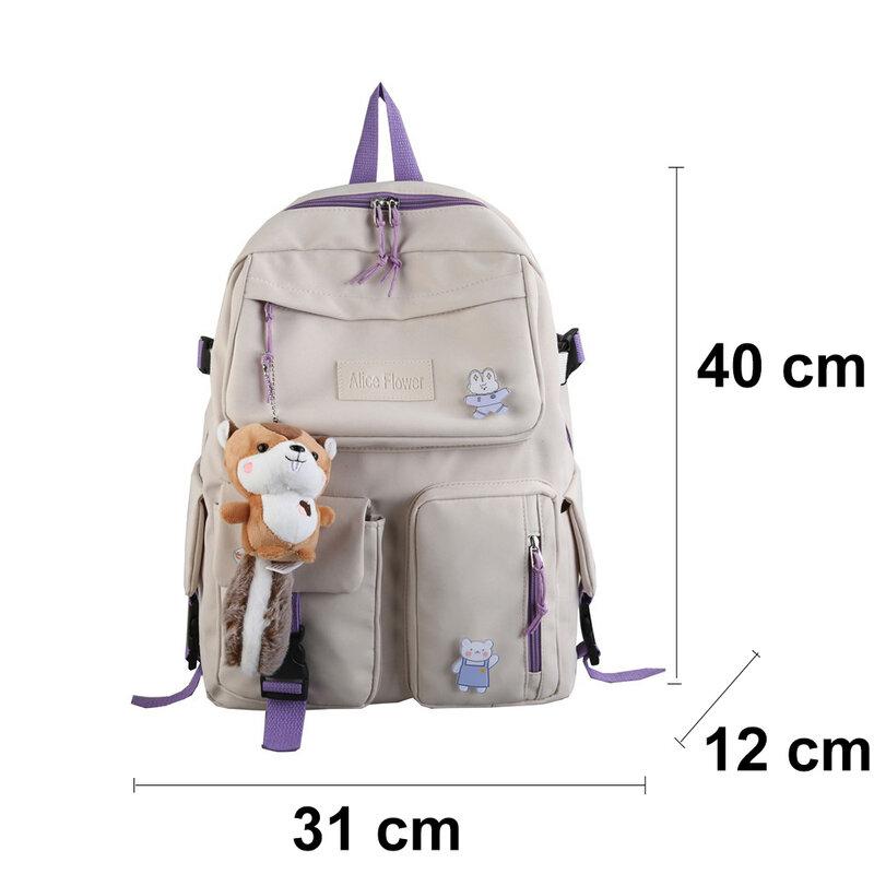 SYWIZDII جديد نمط Preppy على ظهره النساء الموضة لطيف حقائب الظهر للإناث سعة كبيرة الكورية لطيف أكياس اليابانية حقيبة مدرسية