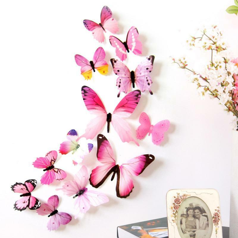 1 مجموعة جديد نمط فراشة الجدار ملصق على ديكور حوائط المنزل الفراشات للديكور المغناطيس الثلاجة ملصقات صالون الديكور