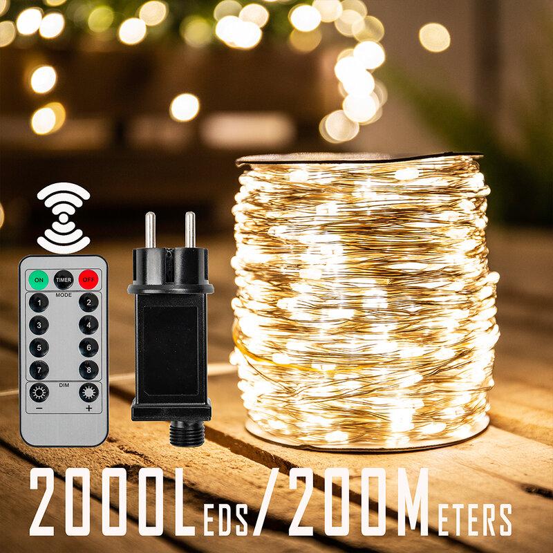 200 متر 2000 المصابيح أضواء سلسلة جنية LED عيد الميلاد رمضان عطلة حفل زفاف جارلاند أضواء الديكور للخارجية