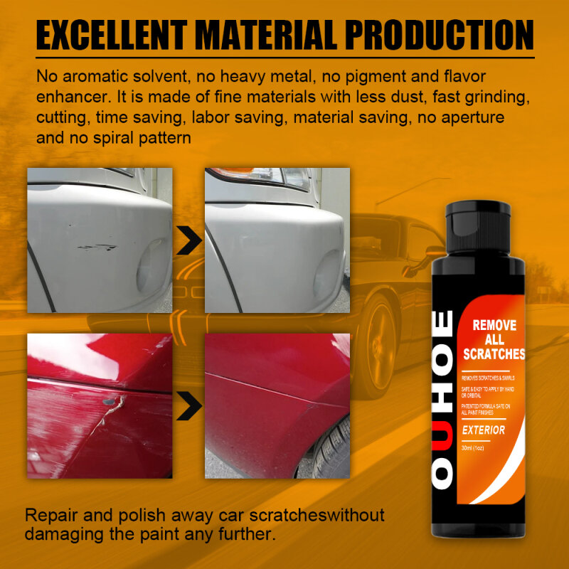 30 مللي تلميع لصق الشمع سيارة خدش إصلاح وكيل مسعور الطلاء الرعاية مقاوم للماء الخدوش مزيل الزجاج عميل التنظيف