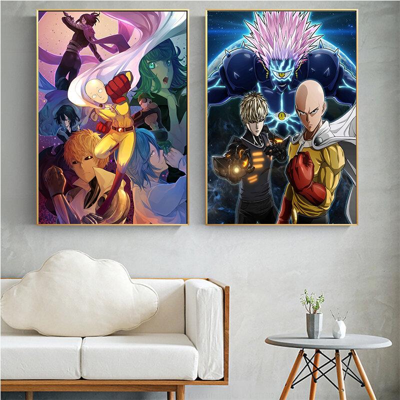 انمي ياباني بانش مان حائط لوح رسم فن لغرفة المعيشة رسوم كاريكاتورية بطل Saitama قماش ملصق ومطبوعات