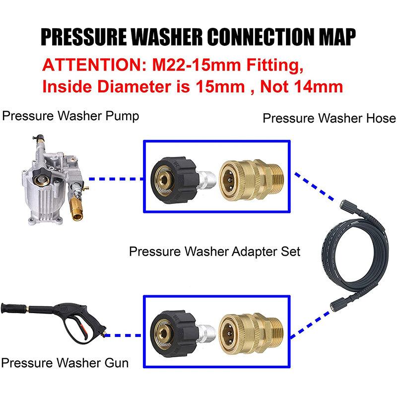 """غسالة الضغط تويست الاتصال M22 14 مللي متر X 3/8 """"سريعة قطع التوصيل ارتفاع ضغط النحاس المناسب مقرنة سريعة الحلمة ، 5000 PSI"""