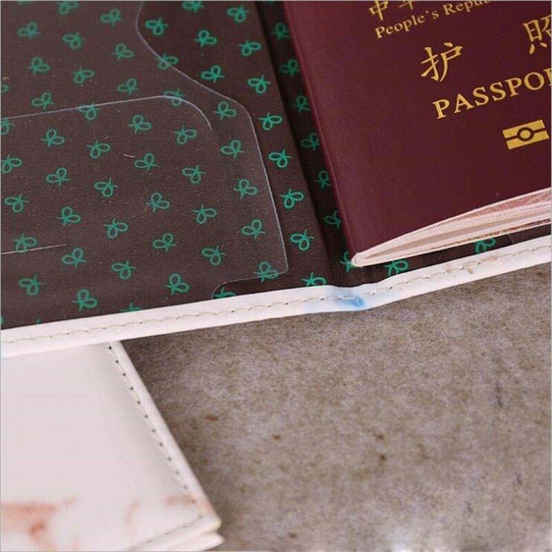 موضة نساء رجال جواز سفر غطاء بولي Leather جلد رخام نمط سفر معرف بطاقة الائتمان حامل جواز سفر حزمة حافظة نقود حقيبة