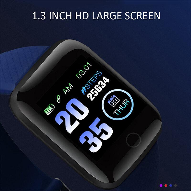 ساعة ذكية النساء الرجال الاطفال معدل ضربات القلب ضغط الدم رصد 116 زائد مقاوم للماء الرياضة ساعة ذكية ساعة ساعة ل IOS أندرويد