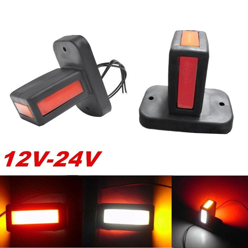 NEW-2Pcs 12V-24V LED شاحنة الجانب ماركر ضوء مقطورة الجانب أضواء شاحنة مقطورة أضواء LED عكس الفرامل ضوء بدوره إشارة