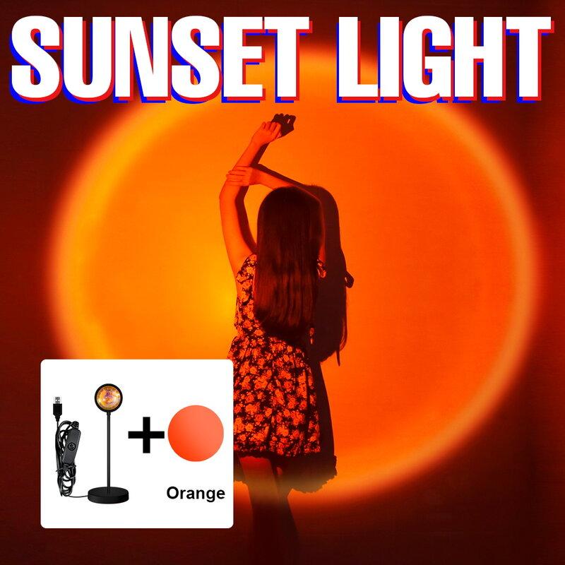 LED الغروب كشاف ضوئي قوس قزح جو مصباح USB الجدول مصباح ليلة الإضاءة غرفة نوم حائط الخلفية أضواء ملونة