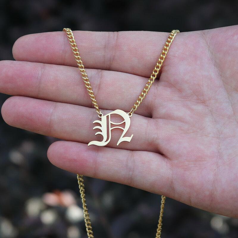 شخصية كبيرة الأولي قلادة القديمة الإنجليزية قلادة بحرف قلادة مخصص اسم مجوهرات الرجال الهيب هوب فيجارو سلسلة Colar هدية