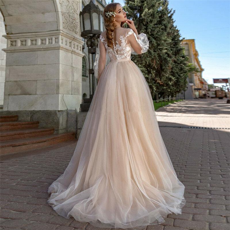 فستان زفاف تول بأكمام طويلة ، واسع ، خط a ، ناعم ، لون شامبانيا ، موضة جديدة 2020