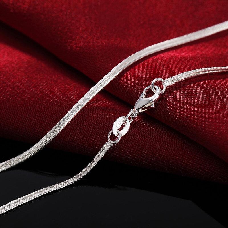 16-30 بوصة سحر الزفاف حزب 925 فضة 2 مللي متر شقة الأفعى سلسلة الفضة لطيف للنساء الرجال الأزياء صالح قلادة