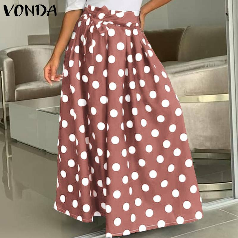 النساء التنانير البولكا نقطة عالية الخصر تنورة طويلة 2021 فوندا الإناث مثير مطوي حفلة تنانير طويلة Faldas De Mujer