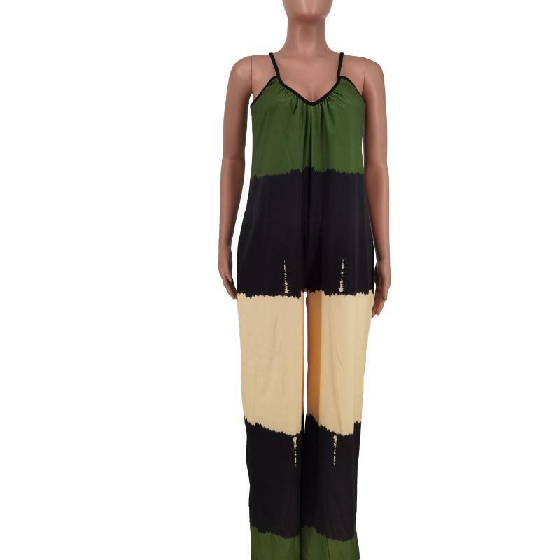 عارضة فضفاضة الأخضر جديد الصيف المرأة مثير الرقبة معلقة الطباعة الحمالات أكمام قطعة واحدة بنطلون