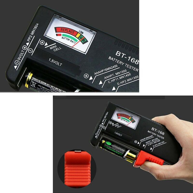 BT168 المحمولة العالمي الرقمية جهاز اختبار بطارية فولت مدقق ل AA AAA 9 فولت زر متعددة حجم جهاز اختبار بطارية مدقق