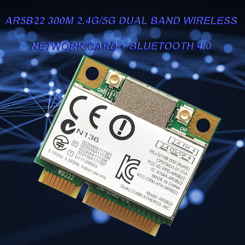 ثنائي النطاق 300Mbps واي فاي AR5B22 اللاسلكية 802.11a/b/g/n نصف Mini PCI-E WLAN 2.4G/5Ghz بلوتوث 4.0 واي فاي بطاقة الشبكة اللاسلكية
