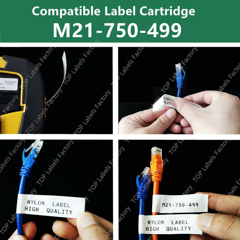 M21 750-499 ملصق نايلون متعدد الأغراض للتعريف العام ، مختبر وسم الأسلاك ، وضع العلامات باللون الأسود على الأبيض BMP21 PLUS LAB