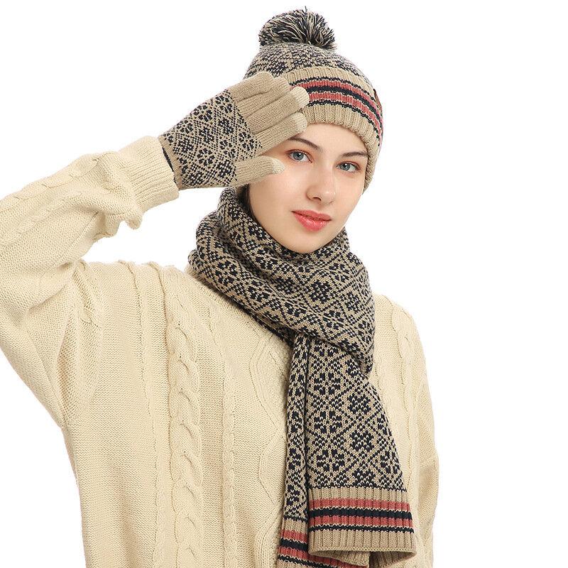 جديد الشتاء النساء محبوك الصوف يندبروف الدافئة دعوى الرجال موضة عادية في الهواء الطلق قبعة رياضية وشاح قفازات ندفة الثلج ثلاث مجموعات