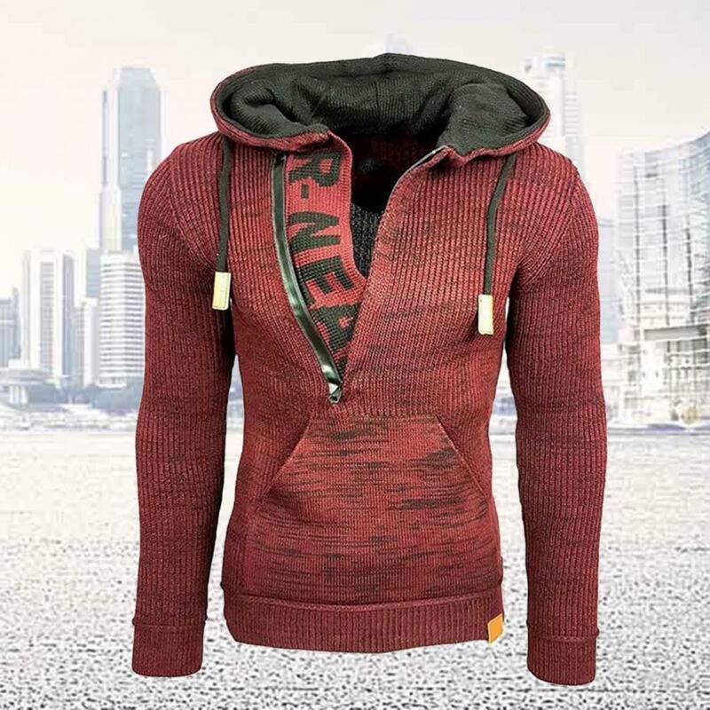 الرجال سترة هوديي التباين الألوان محبوك الرباط الدافئة الرجال طويلة الأكمام سترة معطف لفصل الشتاء الرجال سترة