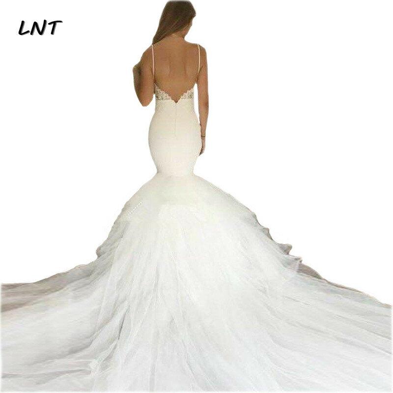 فستان زفاف حورية البحر بأشرطة رفيعة ، فستان زفاف بدون ظهر ، مقاس كبير