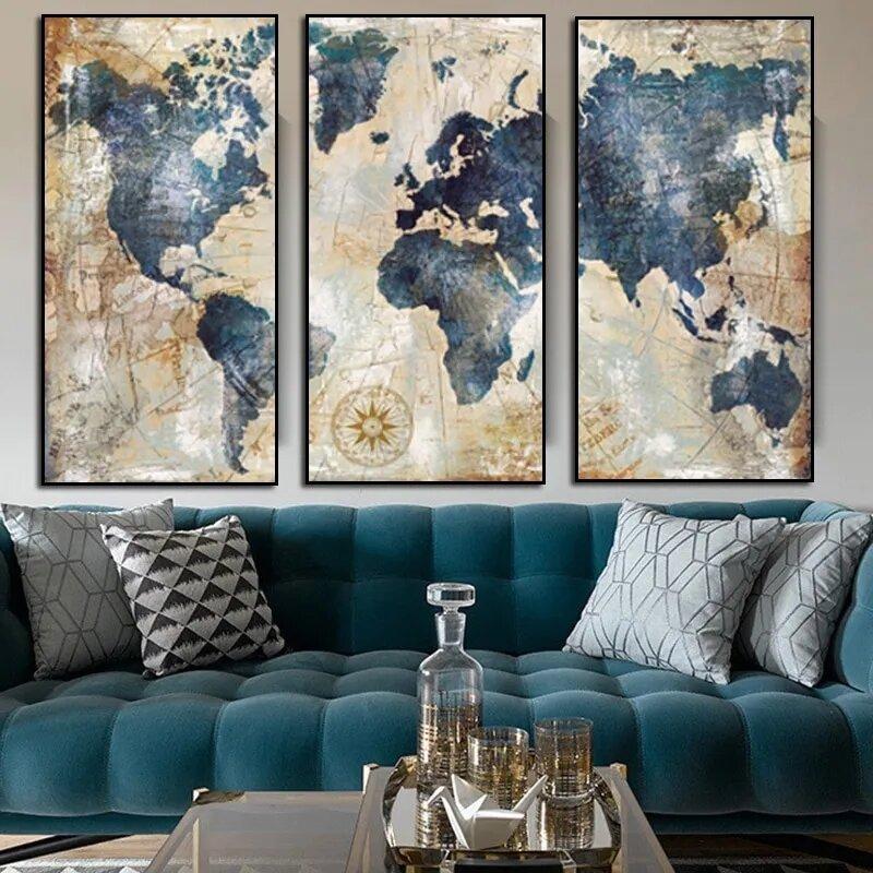Vintage خريطة العالم اللوحة الرسم على لوحات القماش الجدارية طباعة المشارك صورة الكلاسيكية مجردة المشارك الحديثة للمنزل ديكور جدار الفن