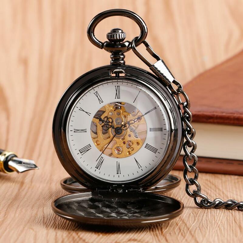 Navidad هدية الكريسماس السلس الميكانيكية ساعة جيب كامل فاخر الذهب اللون الرجال النساء أنيق الرجعية فوب اليد الرياح مزدوجة صياد