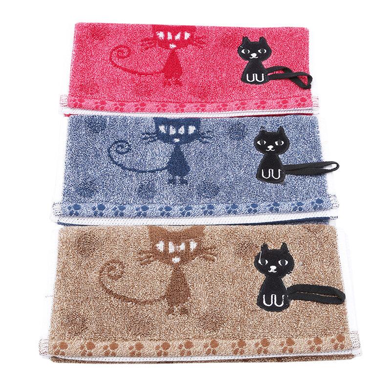 منشفة وجه مطرزة 100% قطن ، مناديل حمام ناعمة ، طباعة قطة كرتونية ، ماصة ، تجفيف سريع