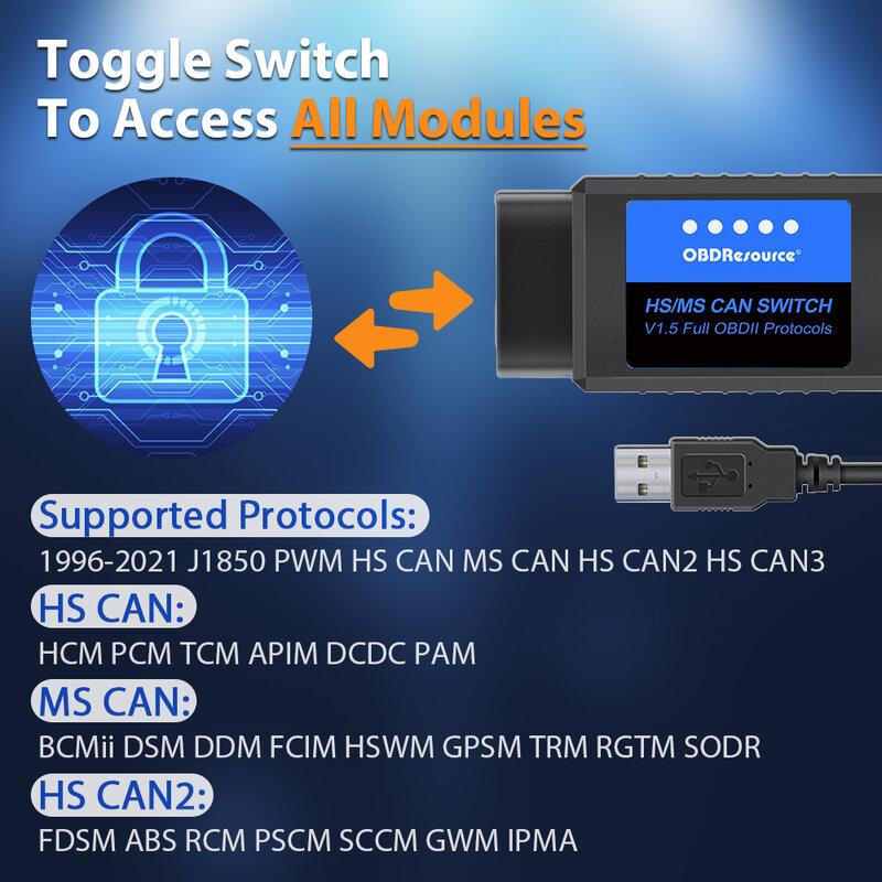 مهايئ فريديامو ELM327 USB V1.5 فورسكان لسيارة فورد الترميز ELMconfig FoCCCus OBD2 مع HS/MS يمكن التبديل F150 F250 F350 F450