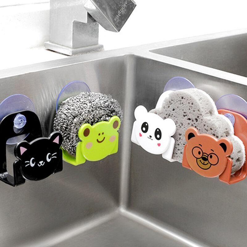 إكسسوارات المطبخ الجميلة أدوات تنظيم أدوات الكرتون الإسفنج خرقة الصابون تخزين الرف ديكور المنزل لوازم المطبخ السلع الأداة