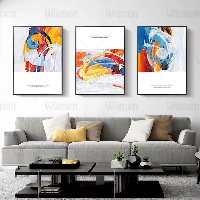 الشمال الحديثة مجردة نمط الطليعية اللوحة الزخرفية الملونة خط الفن جدار صور ديكور المنزل لغرفة المعيشة السرير