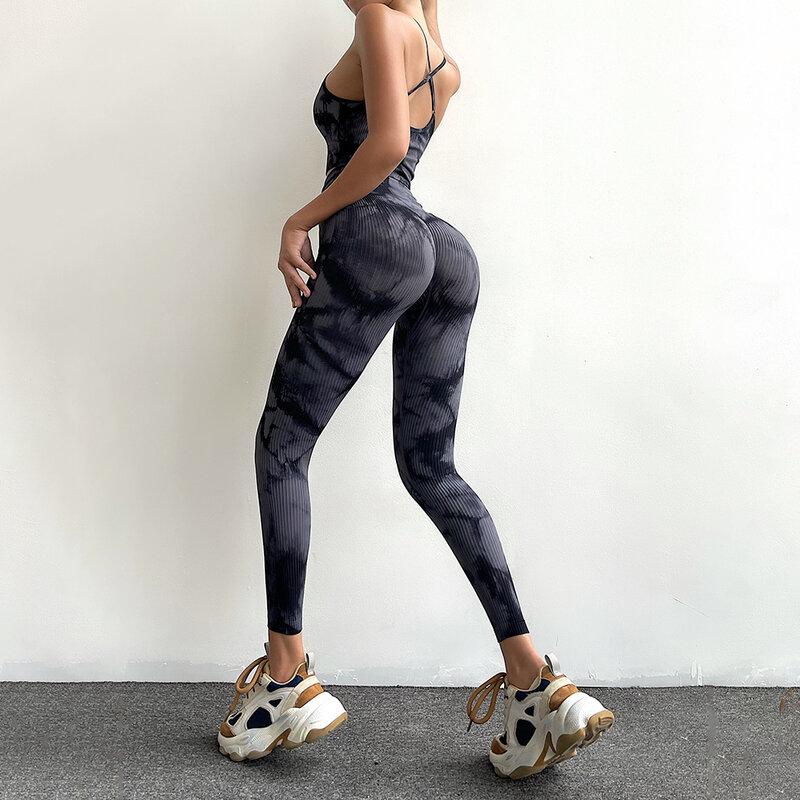 سلس عالية الخصر بلون التعادل صبغ المرأة سراويل رياضية العمودي المشارب جوارب يوغا رياضة الجري التدريب التجفيف السريع السراويل