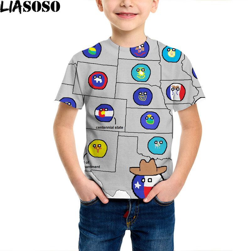 تي شيرت للأطفال مطبوع ثلاثي الأبعاد من polandball على شكل كرات وطنية عصرية للرجال والنساء على طراز الهيب هوب تي شيرت مزين بأشكال كرتونية