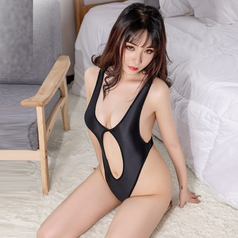 مثير لامعة عالية قطع ارتداءها الجوف خارج عالية مطاطا ضيق قطعة واحدة ملابس السباحة منخفضة الصدر Bodycon مثير الملابس الداخلية امرأة الشاطئ نمط