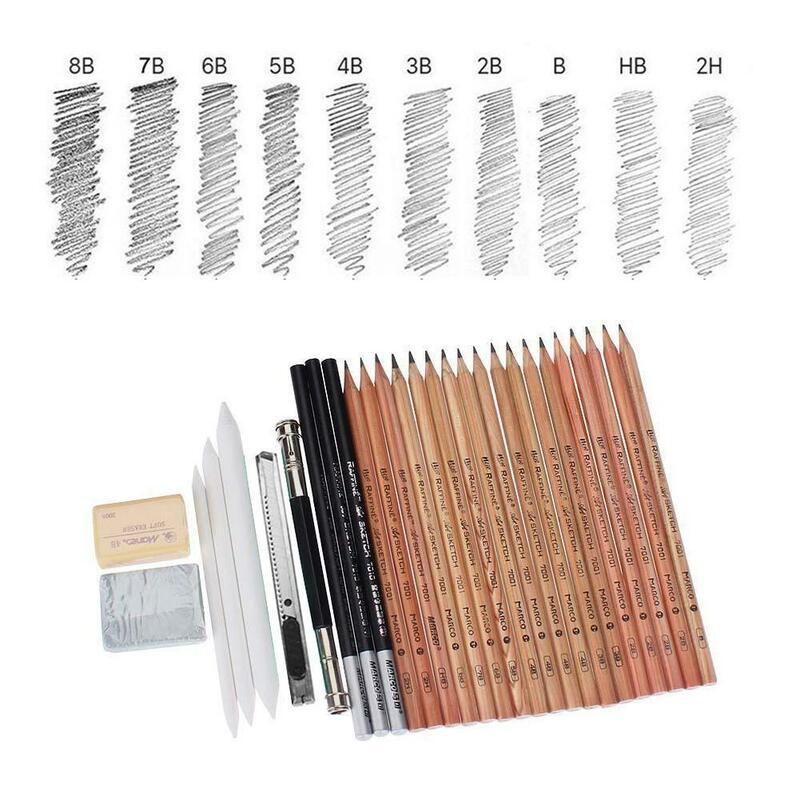 29 قطعة رسم مجموعة أقلام رصاص المهنية رسم قلم رسم رسم رسم رسم الأطفال اللوحة 2b4b artsupply e قلم رصاص أداة V6H7