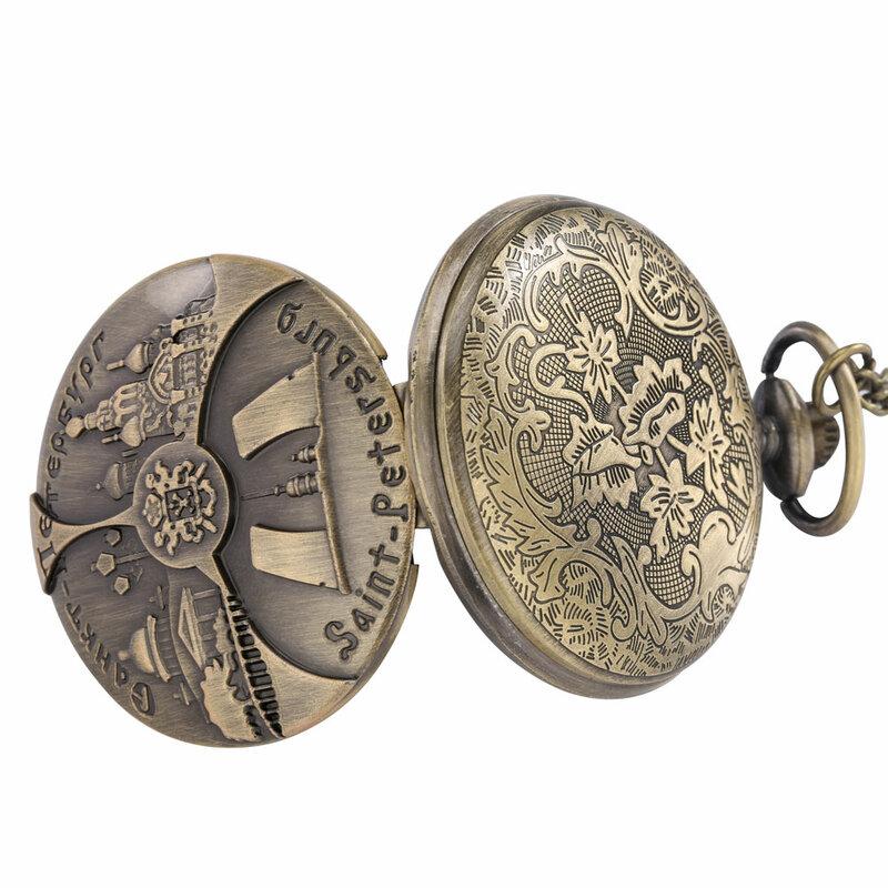 سانت بطرسبرغ نمط ساعة جيب كوارتز الوجه الكلاسيكية الرقمية الهاتفي البرونزية قلادة قلادة 80 سنتيمتر سلسلة فوب ساعة دروبشيبينغ