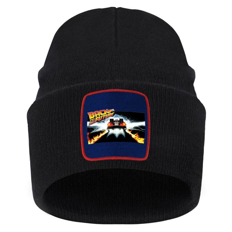 العودة إلى المستقبل طباعة Skullies قبعة بلون دافئ بونيه قبعة عادية الهيب هوب قبعة قبعات في الهواء الطلق قبعة التزلج قبعات منسوجة